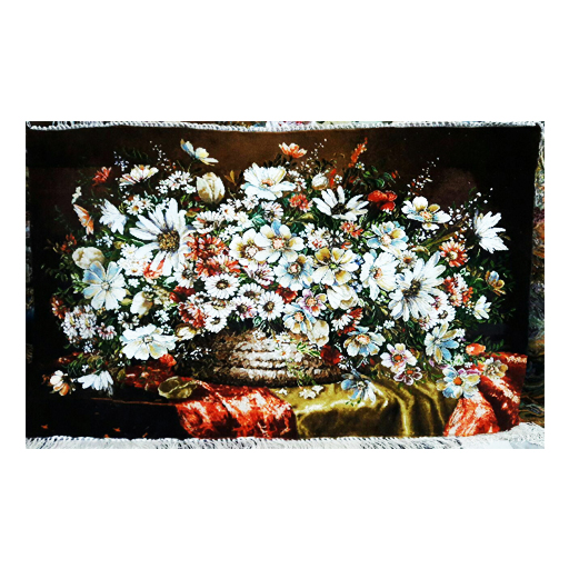 تابلو فرش دستبافت طرح گل عرضی ترمه قرمز،خرید انلاین،فروشگاه اینترنتی آف تپ