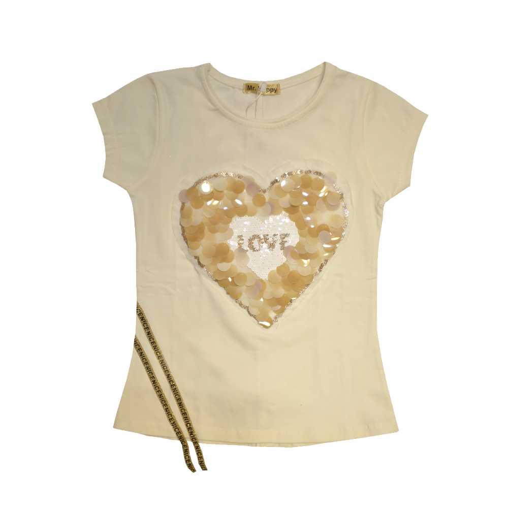 تی شرت دخترانه طرح قلب، خرید آنلاین، فروشگاه اینترنتی آف تپ