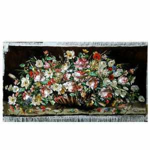 تابلو فرش دستبافت طرح  گل عرضی پایه دار ،خرید آنلاین،فروشگاه اینترنتی آف تپ