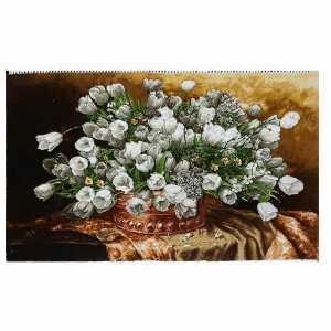 تابلو فرش دستبافت طرح گل لاله کریم نژاد،خرید آنلاین،فروشگاه اینترنتی آف تپ