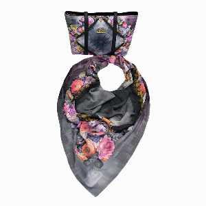 ست کیف و روسری زنانه برند سوییس گالری طرح گل صورتی،خرید آنلاین،فروشگاه اینترنتی آف تپ