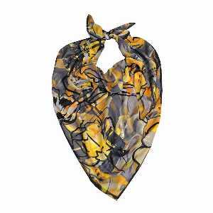 روسری دست دوز نخی برند Ramila طرح زرد طوسی،خرید آنلاین،فروشگاه اینترنتی آف تپ