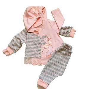 ست سه تیکه دخترانه نوزادی کد 001 ، فروشگاه اینترنتی آف تپ