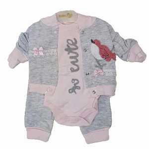 ست سه تکه دخترانه نوزادی طرح پرنده 039 ، فروشگاه اینترنتی آف تپ