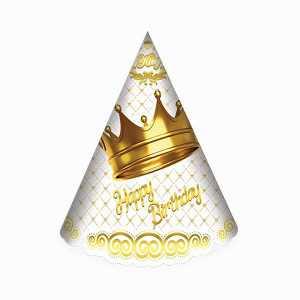کلاه ساده اکلیلی تم تولد تاج طلایی سفید، فروشگاه اینترنتی آف تپ