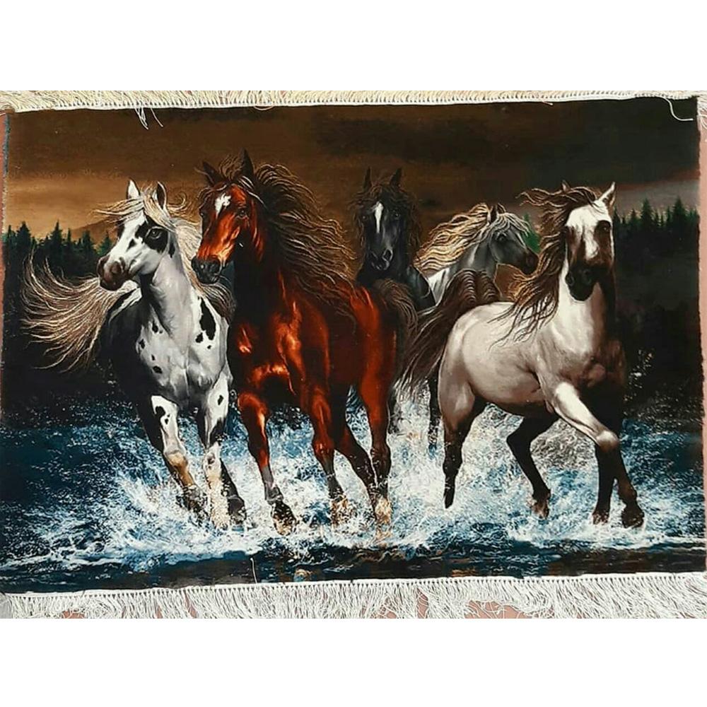 تابلو فرش دستبافت طرح گله اسب کد 1201 ، خرید آنلاین ، فروشگاه اینترنتی آف تپ