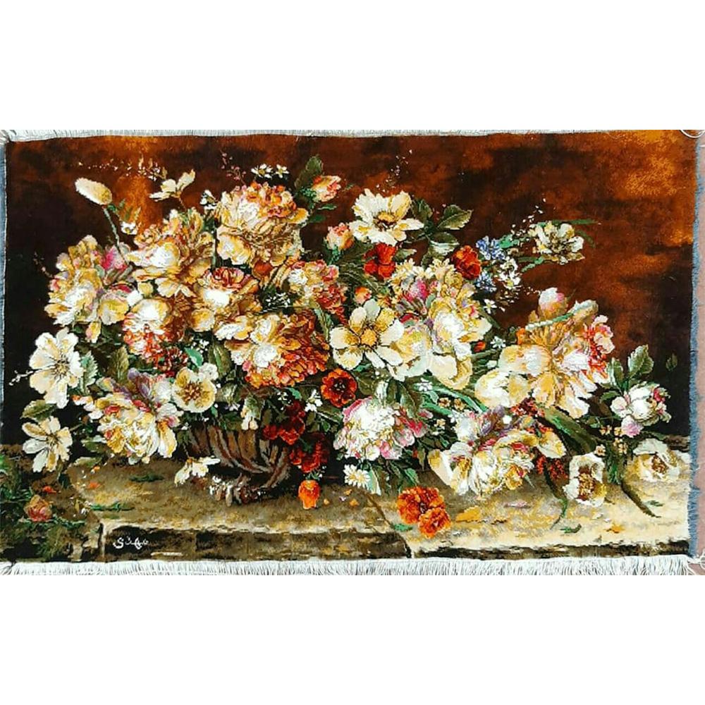 تابلو فرش دستبافت طرح گل عرضی کد1236 ، خرید آنلاین ، فروشگاه اینترنتی آف تپ