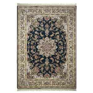 فرش ماشینی مهر ماه کاشان طرح جواهر زمینه سرمه ای، فروشگاه اینترنتی آف تپ