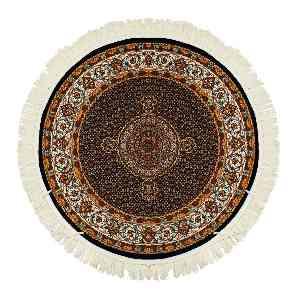 فرش دایره ای قالی تارا طرح ماهی مارال زمینه سرمه ای، فروشگاه اینترنتی آف تپ