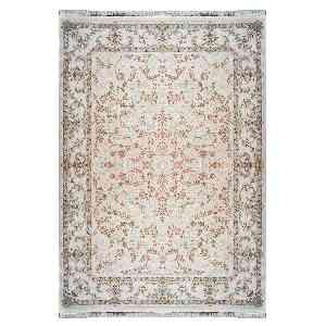 فرش ماشینی شاهانه شفقی طرح افشان رز گلد زمینه گلبهی، فروشگاه اینترنتی آف تپ
