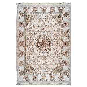 فرش ماشینی مهر ماه کاشان طرح سروین زمینه نقره ای، فروشگاه اینترنتی آف تپ