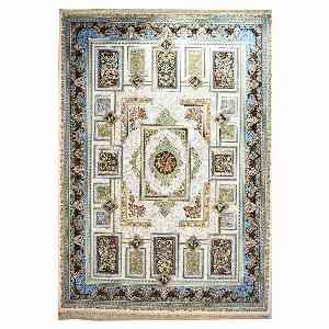 فرش ماشینی مهر و ماه طرح خشتی کد 1224 زمینه کرم ، فروشگاه اینترنتی آف تپ