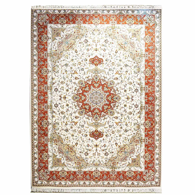 فرش ماشینی قالی تارا طرح اولیا زمینه کرم،فروشگاه اینترنتی آف تپ