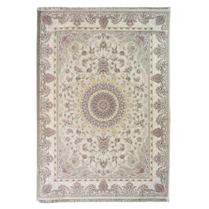 فرش ماشینی دیزاین کاخ طرح تاج کرم زمینه کرم،فروشگاه اینترنتی آف تپ