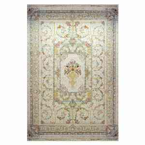 فرش ماشینی کاخ طرح مهراوه زمینه کرم سفید ، خرید آنلاین ، فروشگاه اینترنتی آف تپ