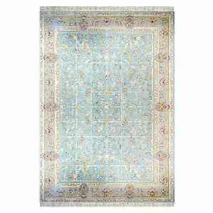 فرش ماشینی کاخ طرح افشان خشتی زمینه آبی الماسی ،خرید آنلاین ، فروشگاه اینترنتی آف تپ