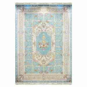 فرش ماشینی کاخ طرح مهراوه زمینه آبی الماسی ، خرید آنلاین ، فروشگاه اینترنتی آف تپ