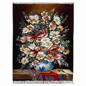 تابلو فرش دستبافت طرح گل طولی ترمه قرمز، فروشگاه اینترنتی آف تپ