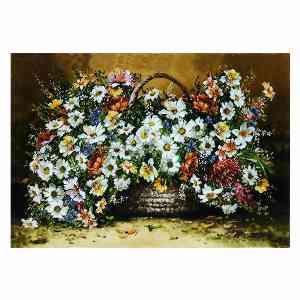 تابلو فرش دستبافت طرح گل عرضی بابونه، فروشگاه اینترنتی آف تپ