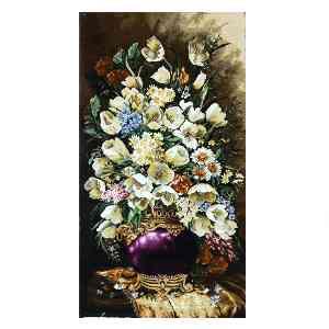 تابلو فرش دستبافت طرح گل گلدان بنفش،  فروشگاه اینترنتی آف تپ