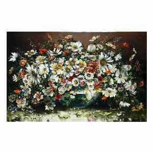 تابلو فرش دستبافت طرح گل گلدان شیشه ای، فروشگاه اینترنتی آف تپ