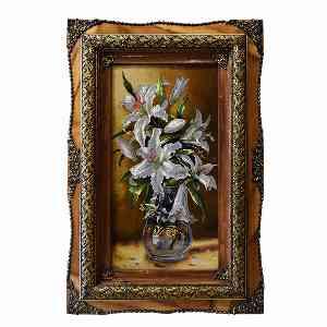 تابلو فرش دست بافت طرح گل گلدان کد 355، فروشگاه اینترنتی آف تپ