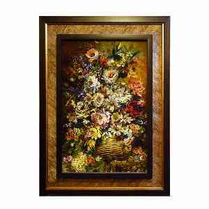 تابلو فرش دست بافت طرح گل سبد کد 1603، فروشگاه اینترنتی آف تپ