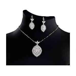 نیم ست جواهری نقره آکسو گلد کد ES18،فروشگاه آنلاین آف تپ